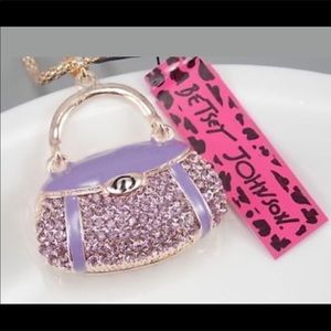 NWT Betsy Johnson Lavender Purse Necklace